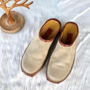 Cole Hann Brown Leather Khaki Suede Clogs Size 7
